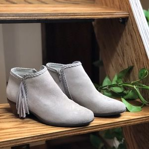 Gray Faux-Suede Fringe Booties, Size 7.5